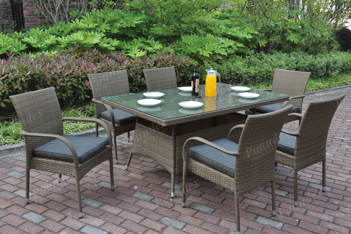 220 221 7 Pcs Outdoor Set 2colors Silver State Furniture