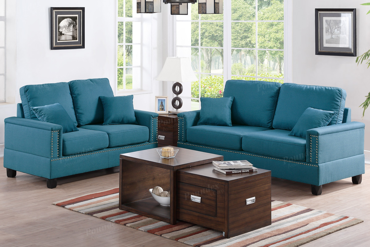 Teal sofa set homelegance deryn sofa set polyester teal for Couch sofa set