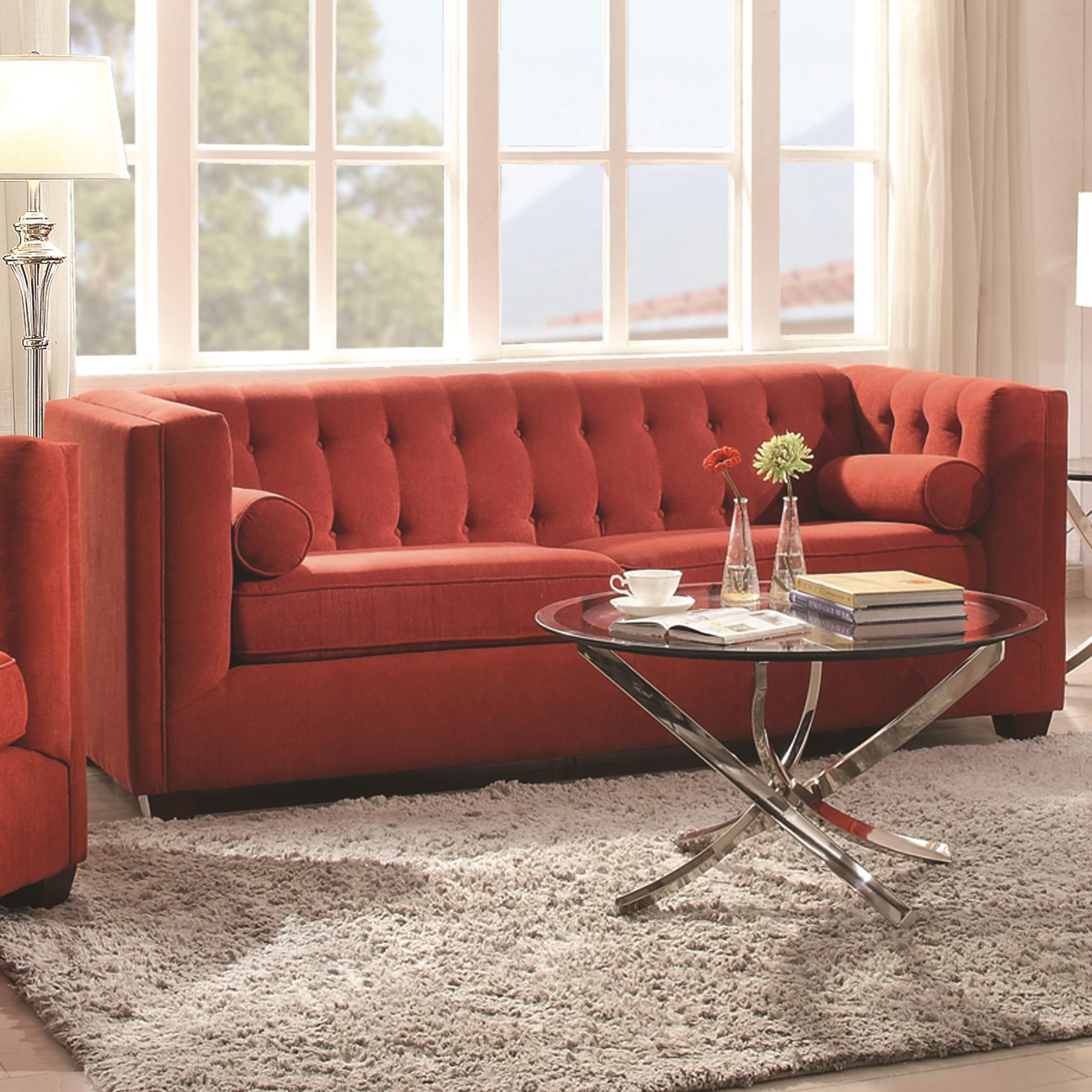 Cairns Stationary Sofa With Tufted Back And Lumbar Pillows 504907 3 Colors Silver State