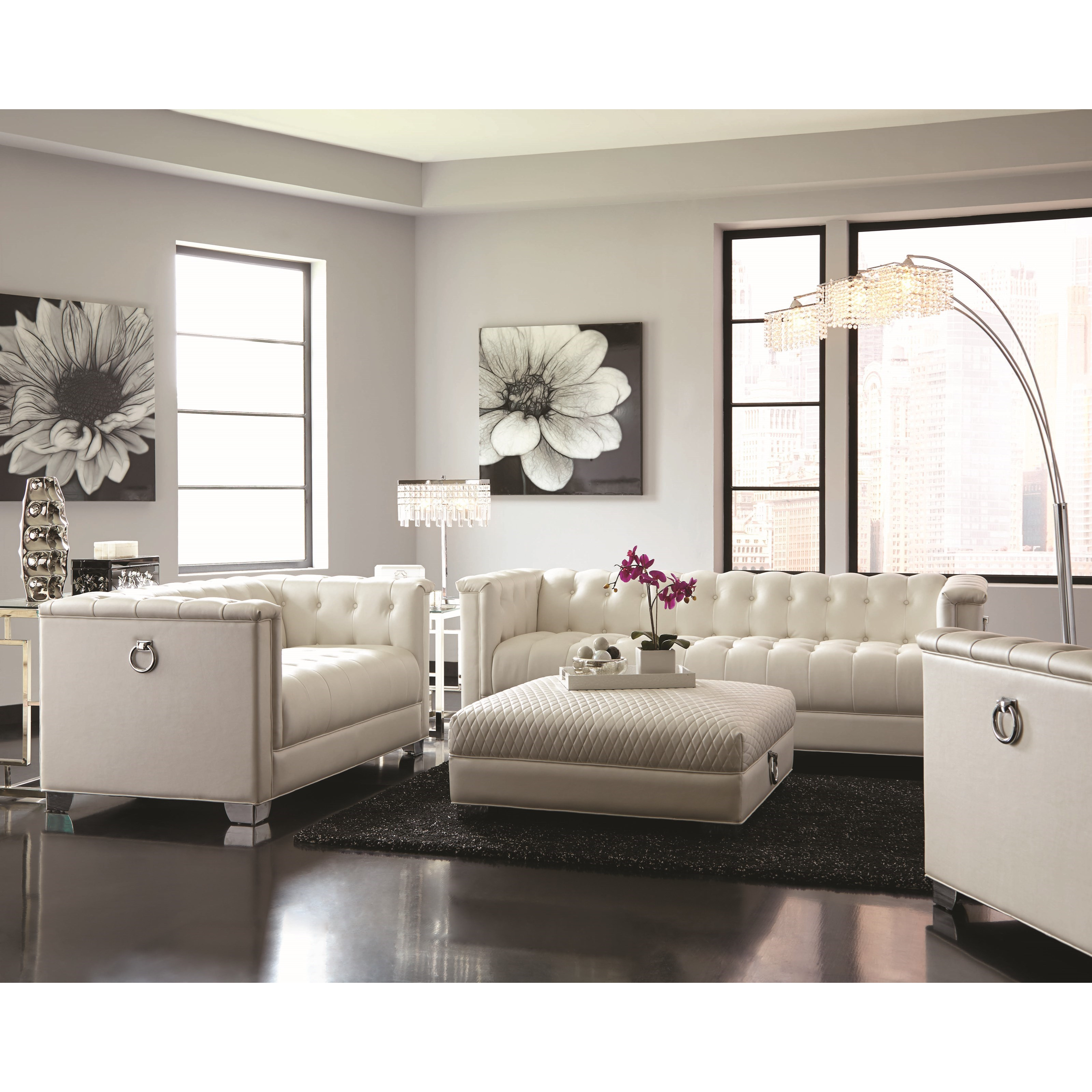 Chaviano Low Profile Pearl White Tufted Sofa 505391