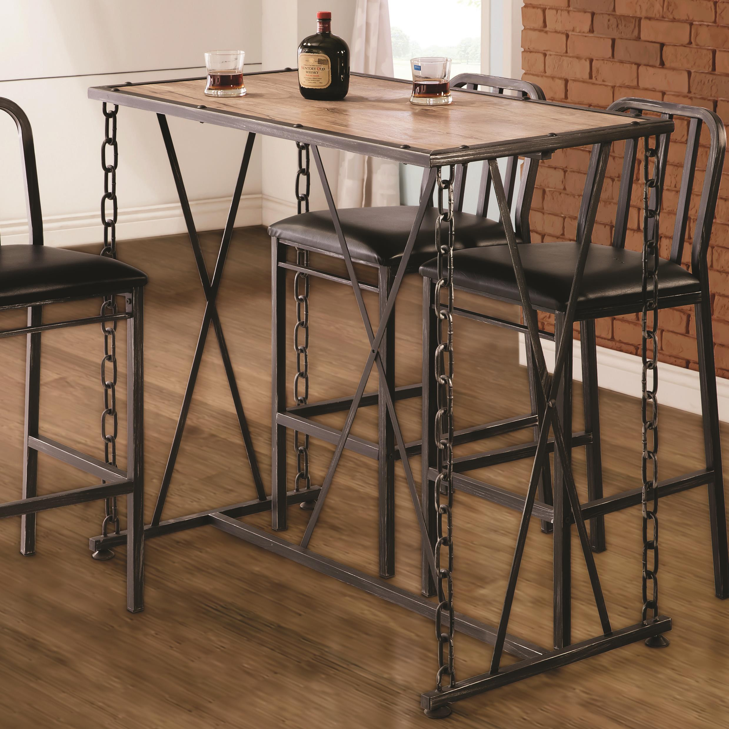 Rustic Industrial Chain Link Bar Table 10069 Silver