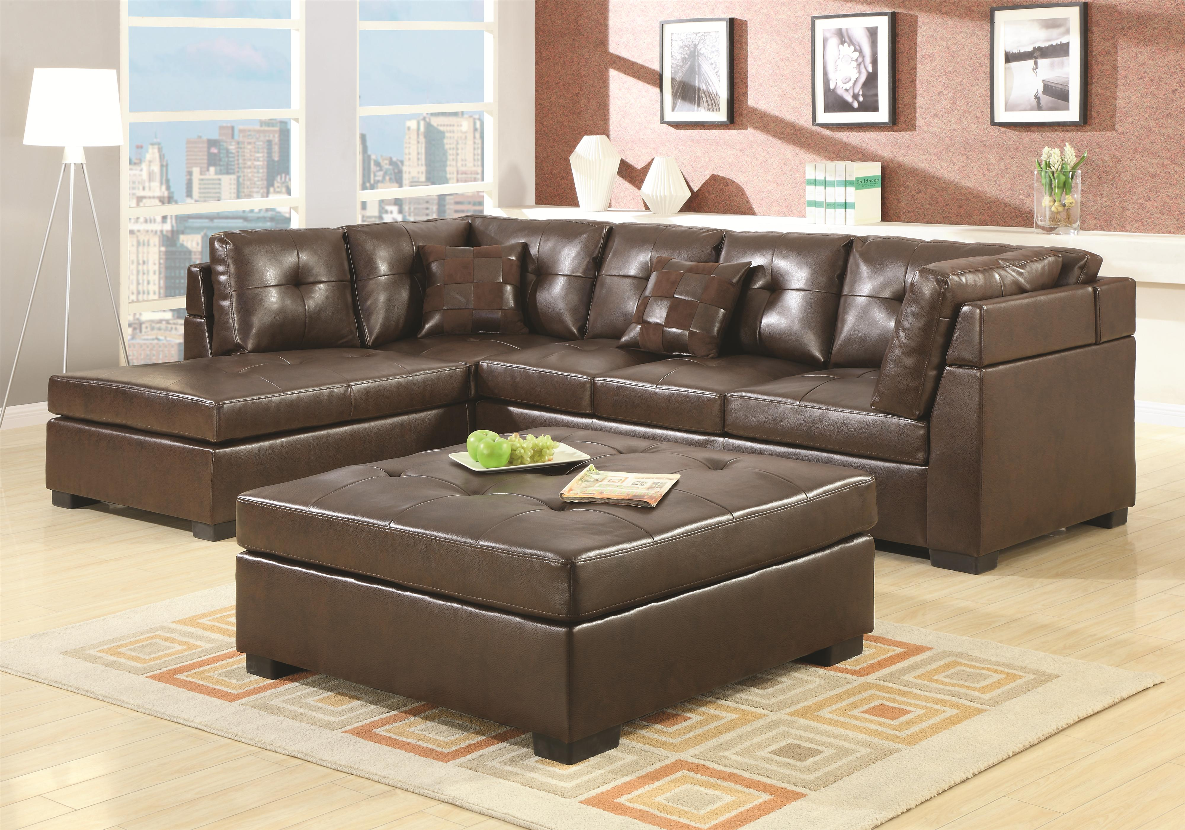 Darie Leather Sectional Sofa with Left Side Chaise 2