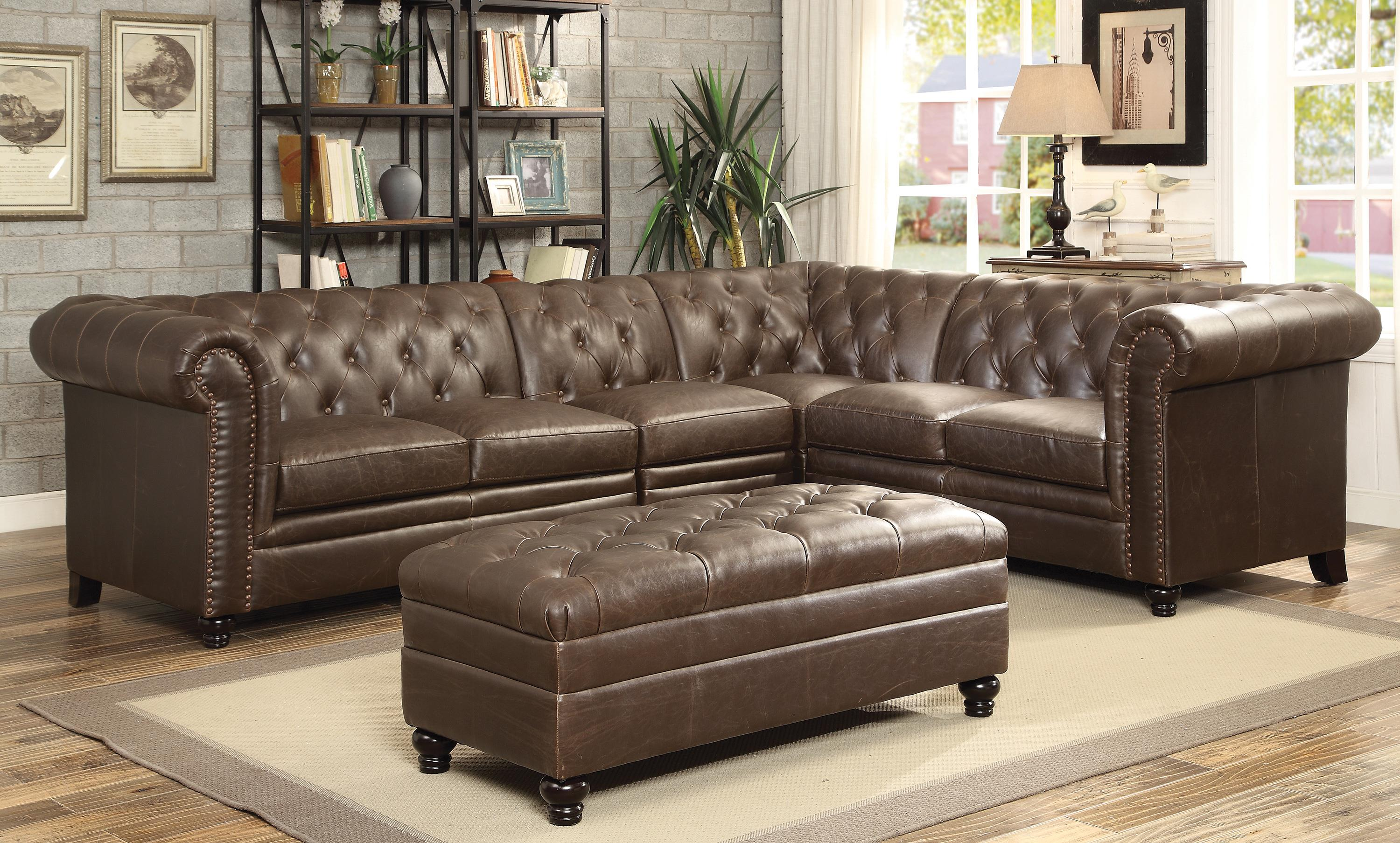 Roy Leather Sectional 3 Colors Silver
