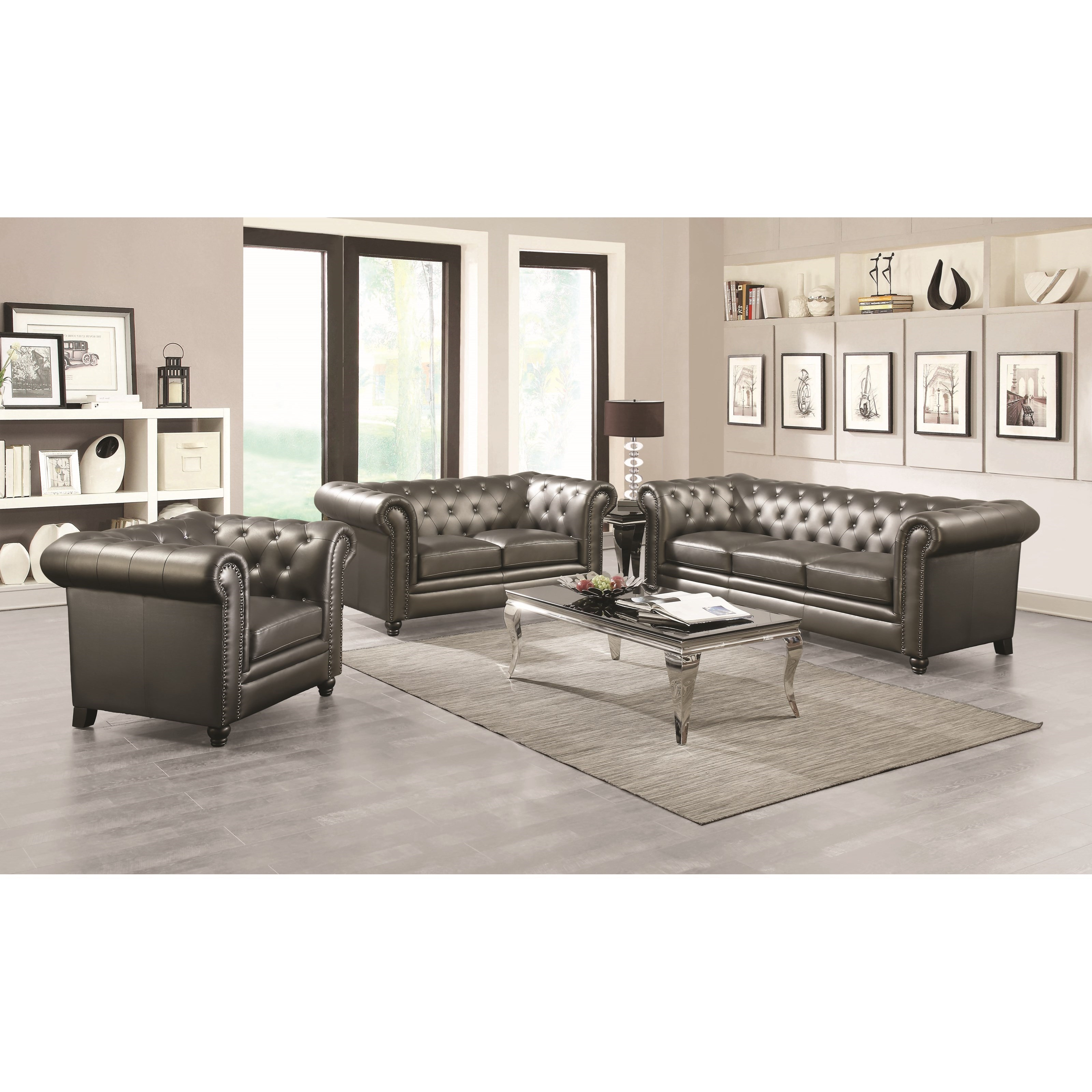 Roy Traditional Living Room 504554 2 Colors Silver
