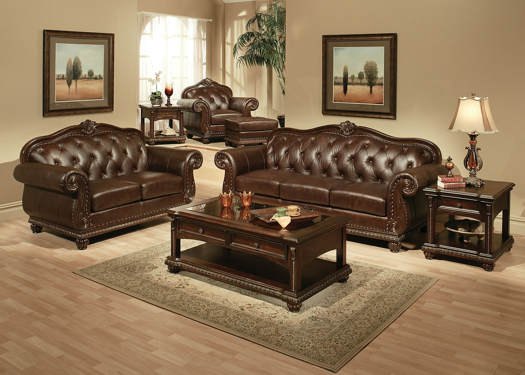 Top Grain Leather Living Room Silver State Furniture