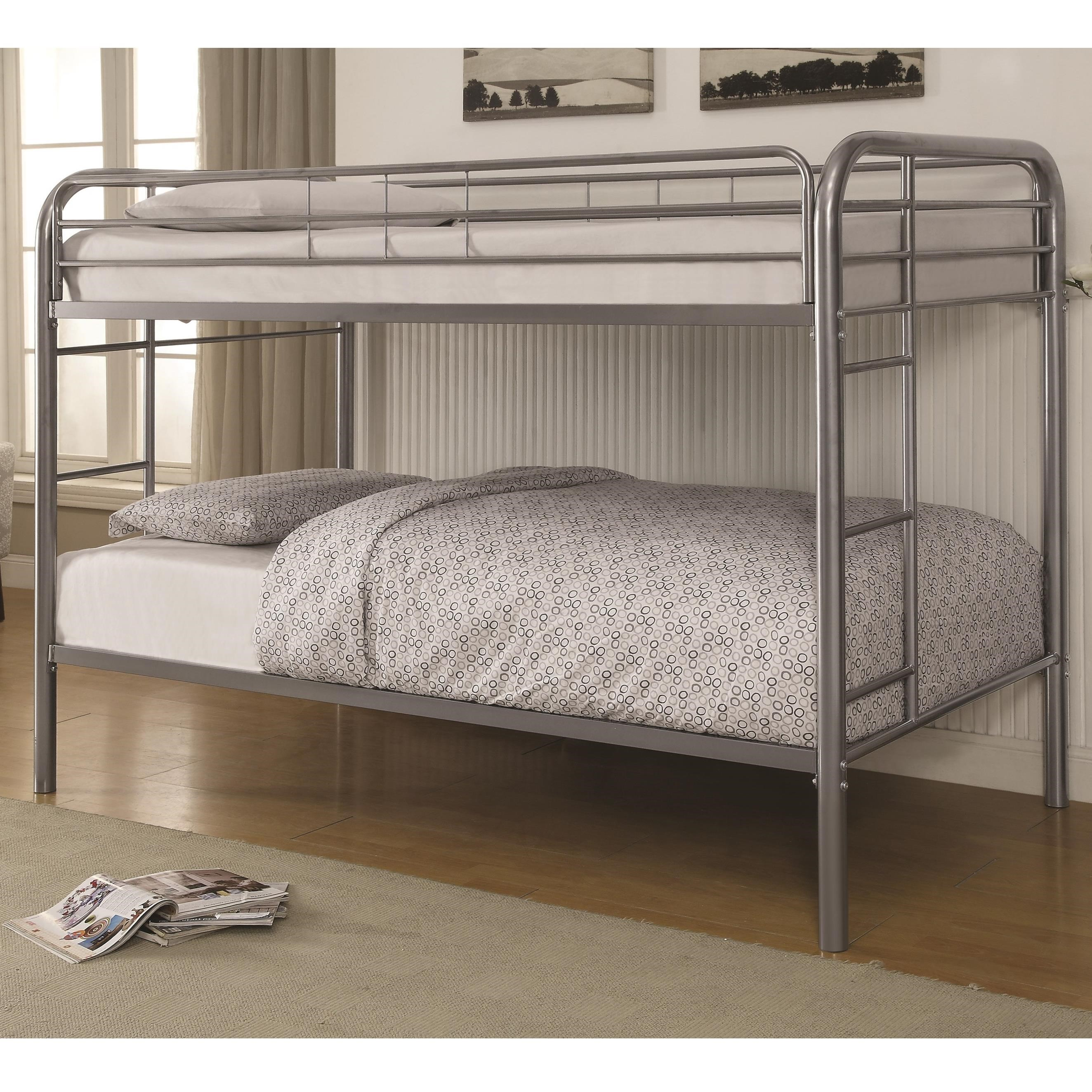 Metal Beds Twin Over Twin Bunk Bed With Built In Ladders